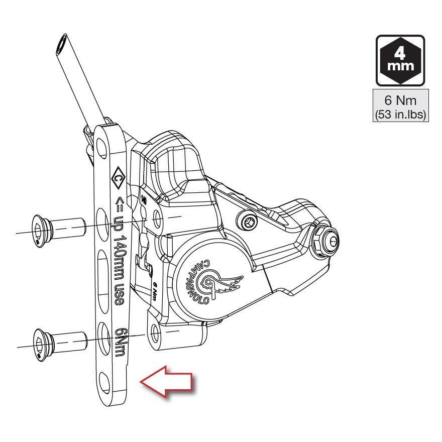 Image of Campagnolo Ekar Disc Brake Adapter - Flat Mount - front - 140 / 160 mm