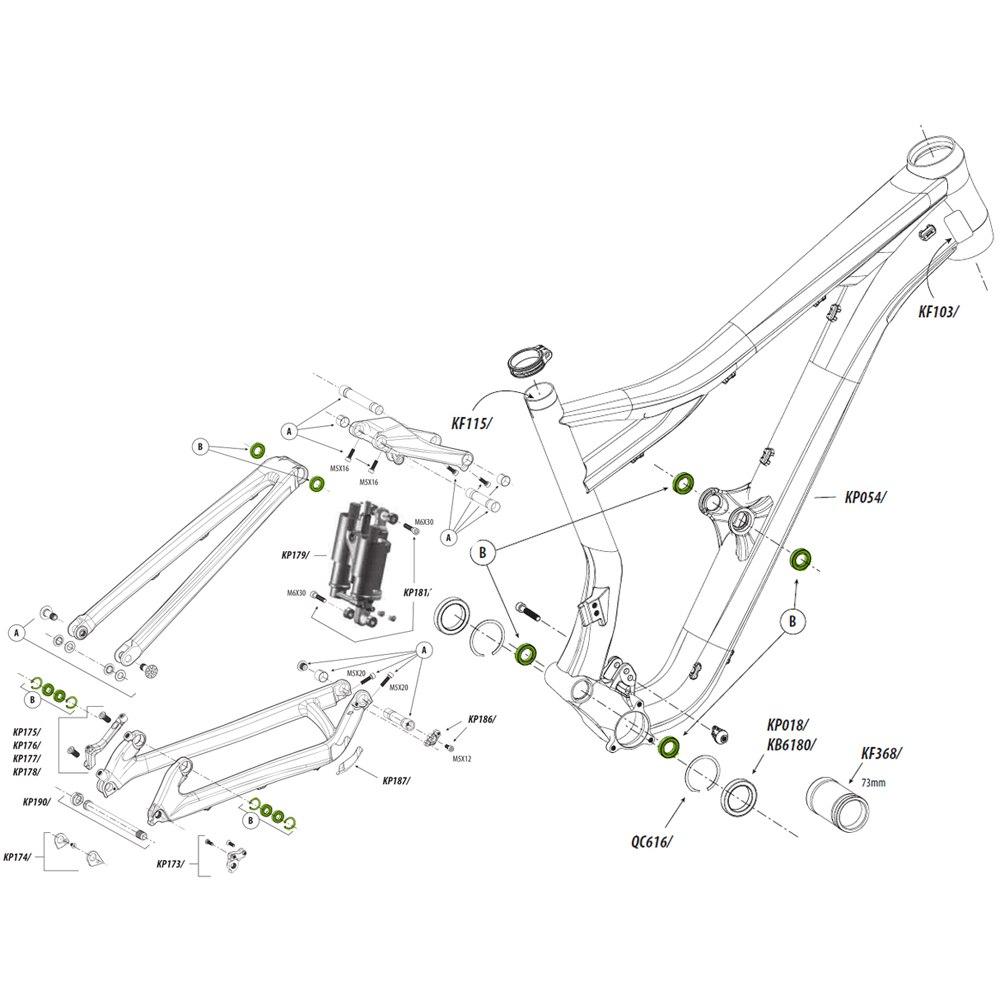Cannondale KP185/ Pivot Bearing Kit for Claymore, Jekyll, Trigger Aluminium