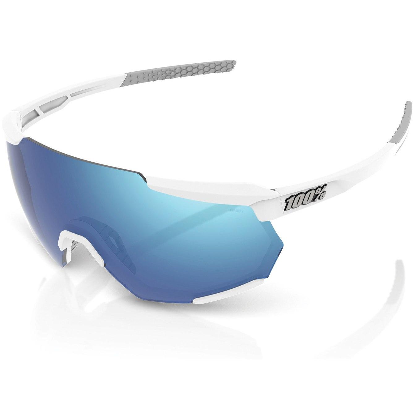 100% Racetrap HiPER Mirror Glasses - Matte White/Blue Multilayer + Clear