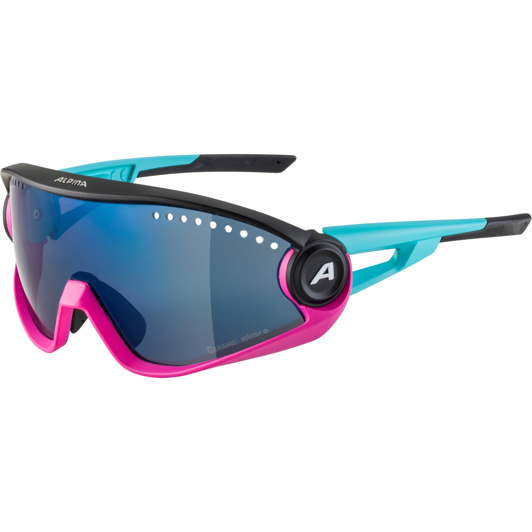 Image of Alpina 5W1NG CM+ Glasses - blue-magenta-black / blue mirror