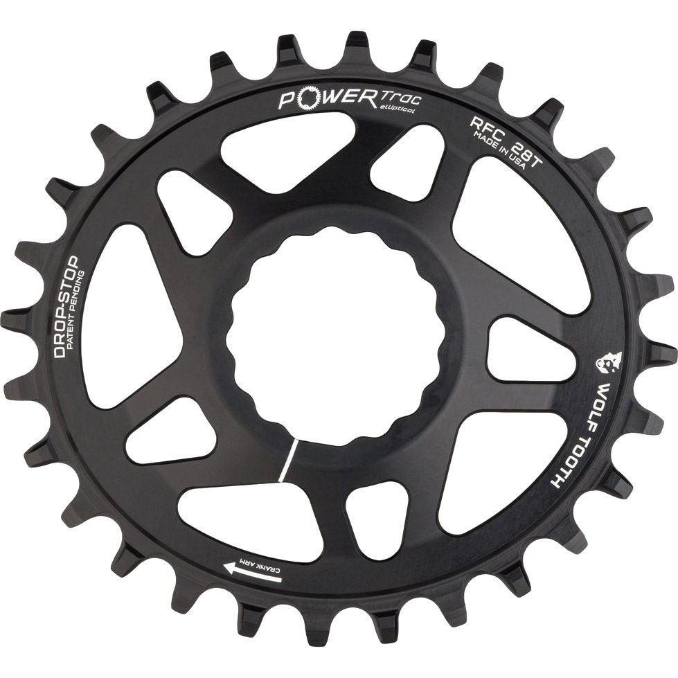 Wolf Tooth Elliptical - Direct Mount Chainring for Race Face Cinch - Drop Stop - black