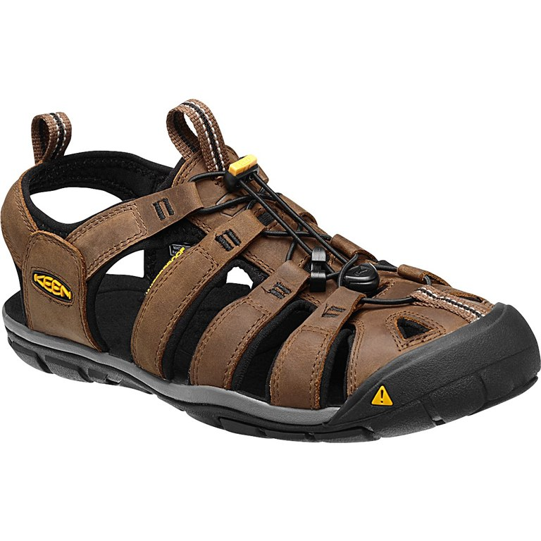 KEEN Clearwater Leather CNX Mens Sandal - Dark Earth/Black