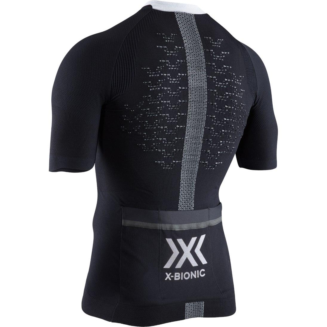 Image of X-Bionic The Trick 4.0 Bike Full Zip Shirt Short Sleeves for Men - opal black/arctic white