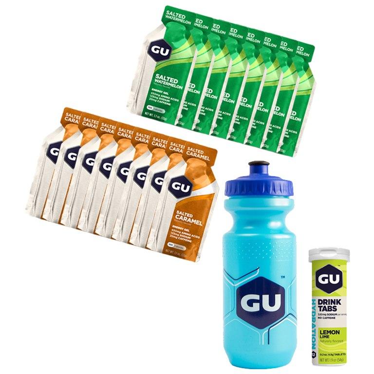 GU Salty Promotion Package - 16x Energy Gels + Electrolyte Drink Tabs + Free Bottle 600ml