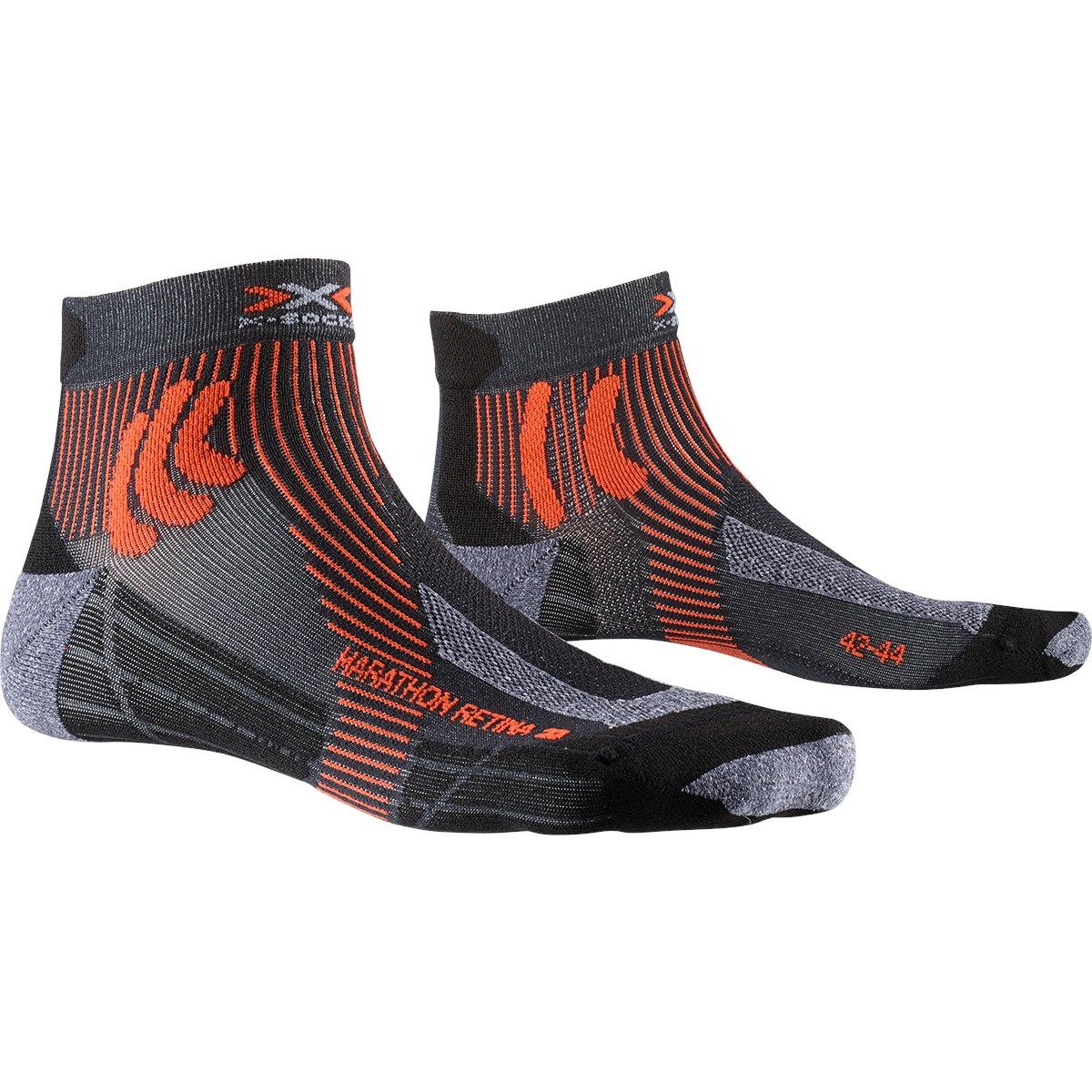 X-Socks Marathon Retina 4.0 Laufsocken - stone grey melange/x-orange