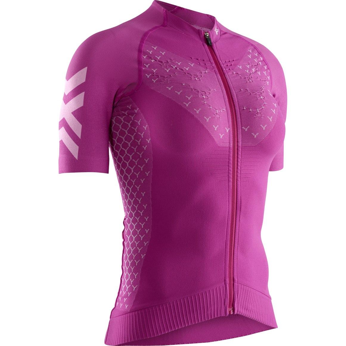 X-Bionic TWYCE 4.0 Bike Full Zip Short Sleeves Shirt for Women - twyce purple/arctic white