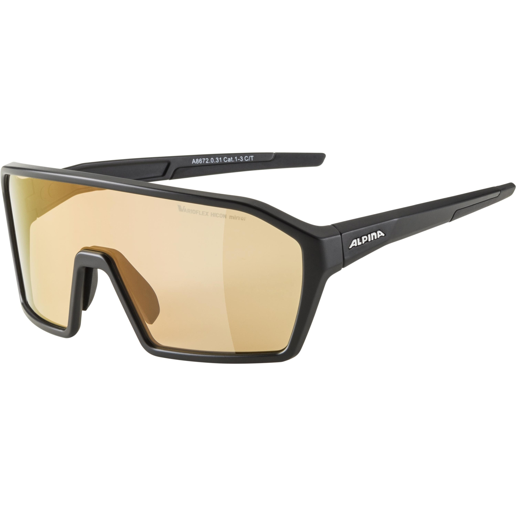 Alpina Ram HVLM+ Glasses - black matt / Hicon Varioflex red mirror