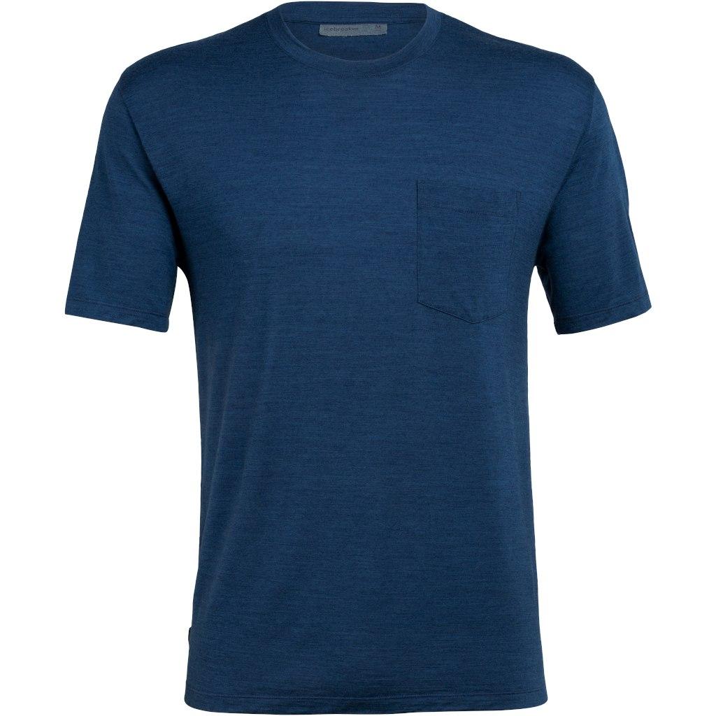 Icebreaker Nature Dye Drayden Pocket Crewe Herren T-Shirt - True Indigo