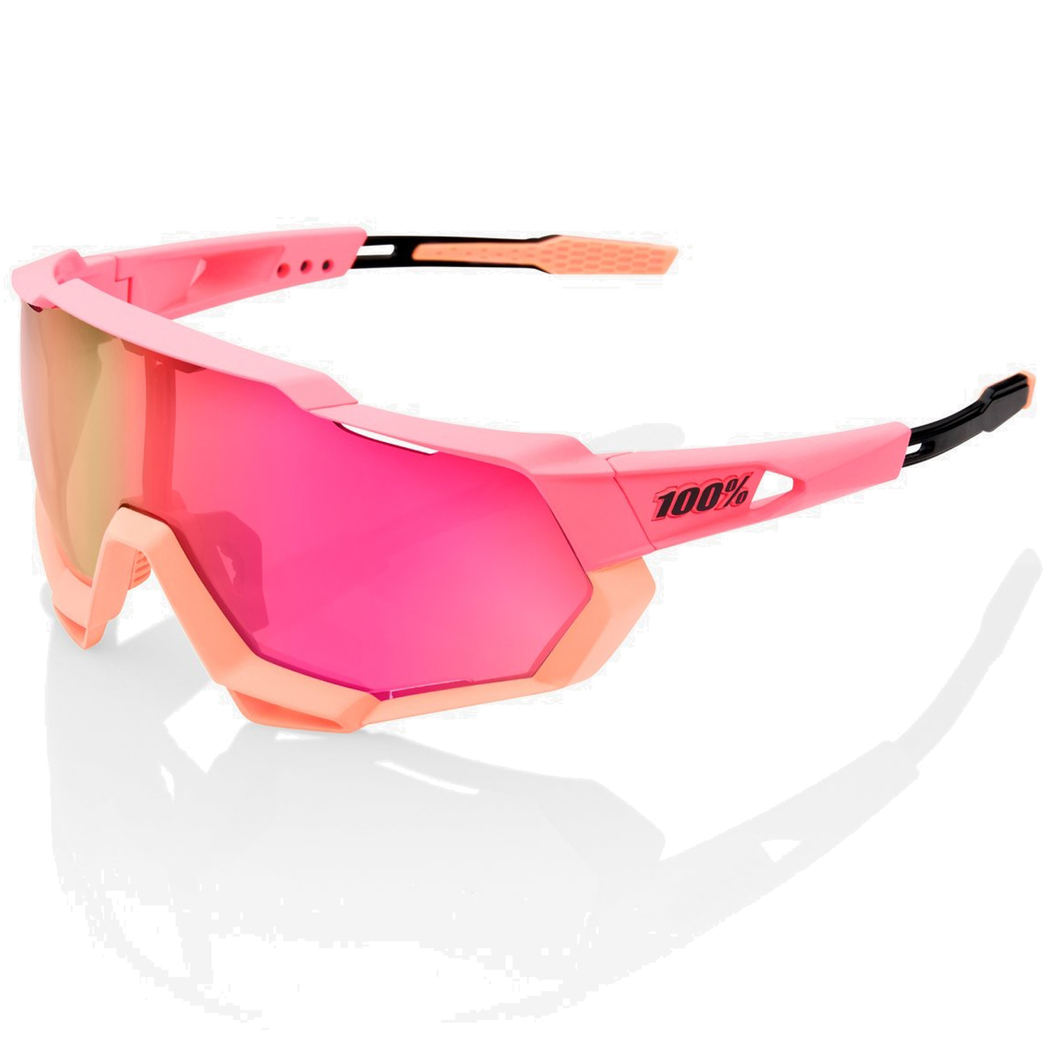 100% Speedtrap Mirror Lense Gafas - Matte Washed Out Neon Pink/Purple Multilayer + Clear