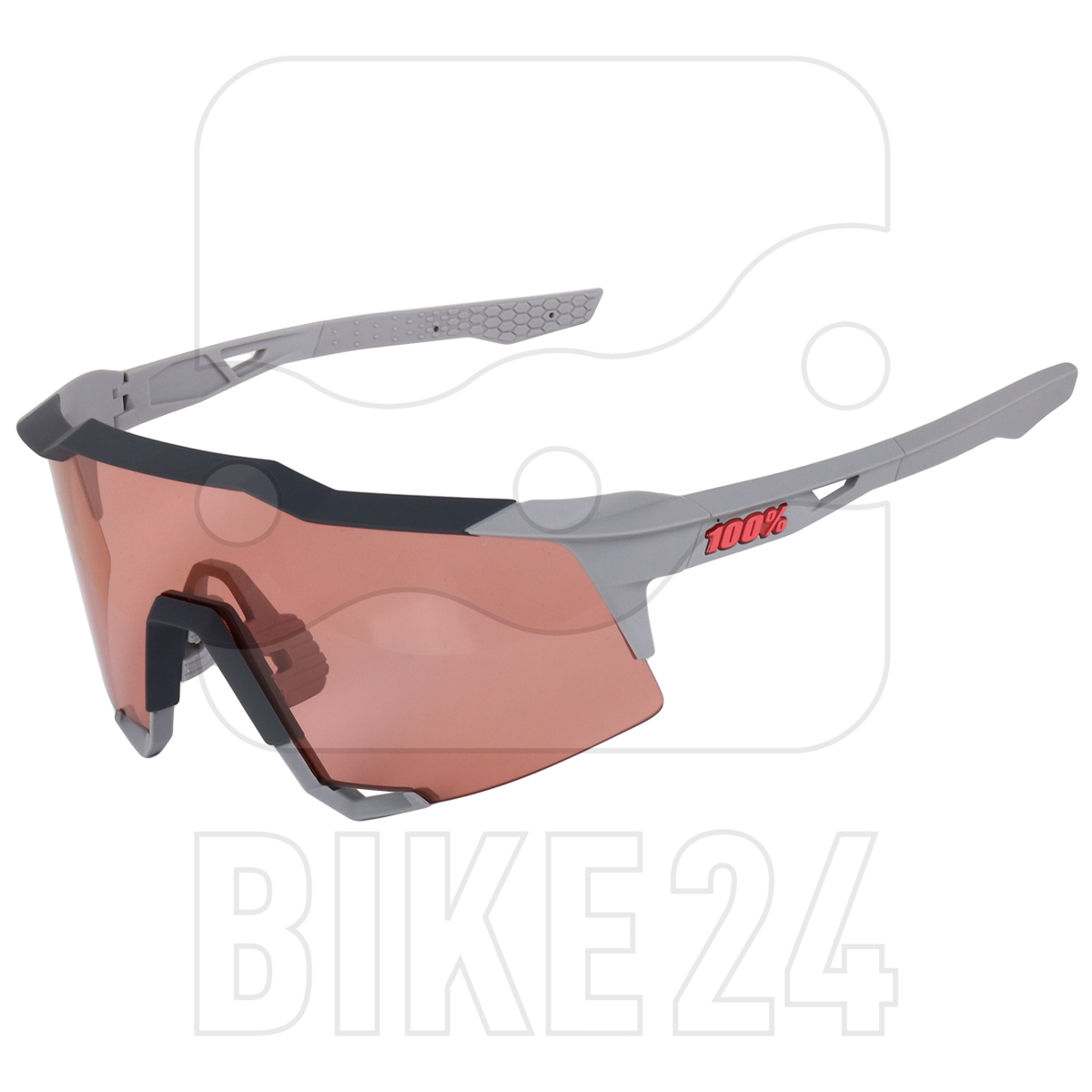100% Speedcraft - Tall - HiPER Glasses - Soft Tact Stone Grey/Coral + Clear