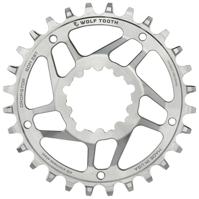 Bild von Wolf Tooth Direct Mount Kettenblatt für SRAM GXP / BB30 Long Spindle - Edelstahl - Drop Stop - silber