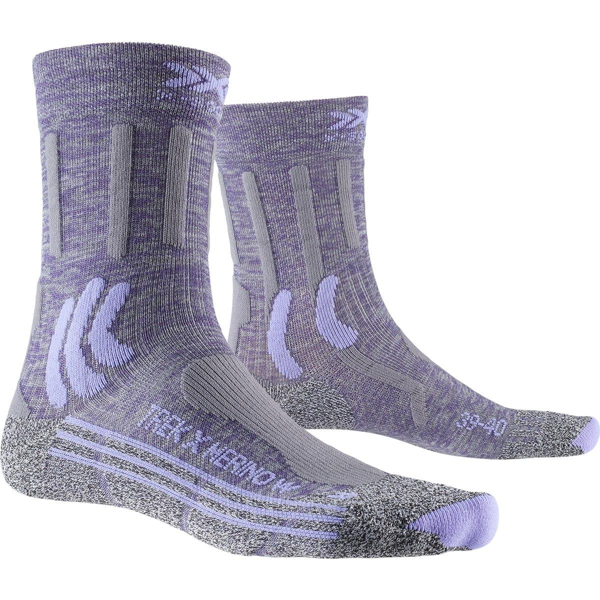 X-Socks Trek X Merino Women's Socks - grey purple melange/grey melange
