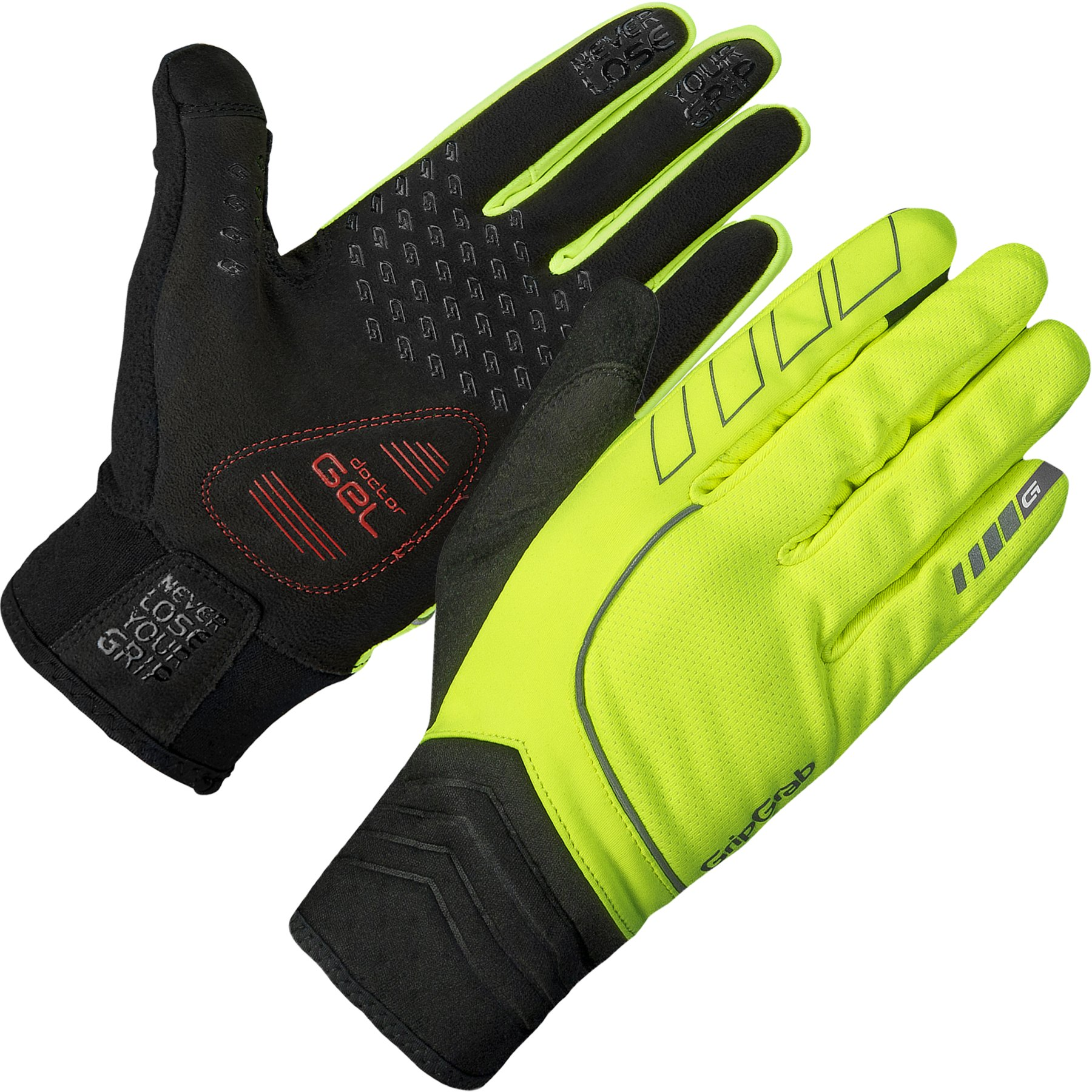 GripGrab Hurricane Hi-Vis Windproof Midseason Glove - Yellow Hi-Vis