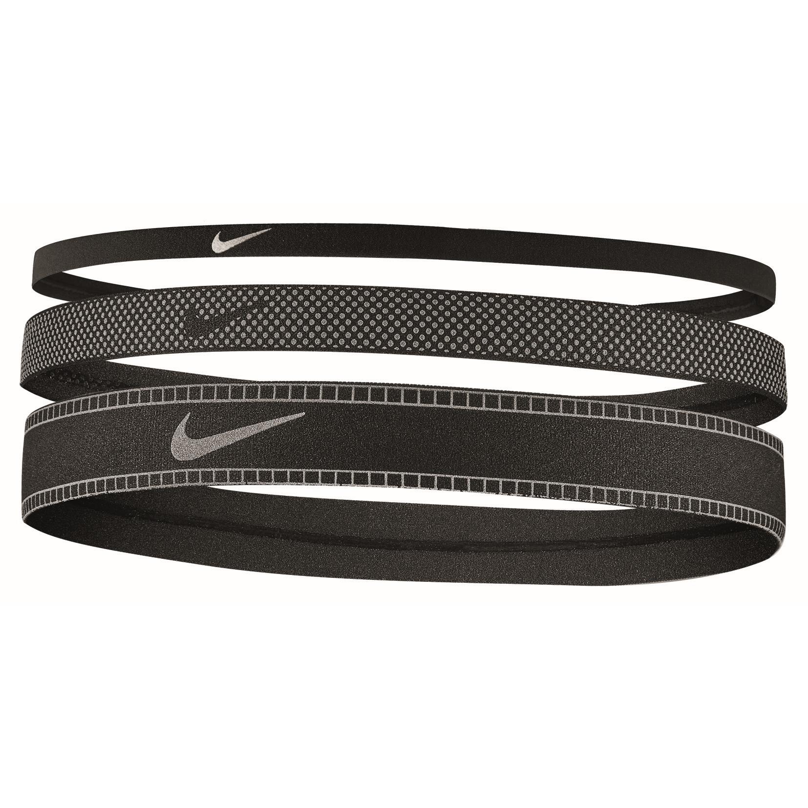 Nike Mixed Width Reflective Cinta del pelo - 3 Pares - black/silver/black 047