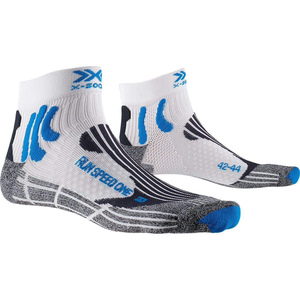 X-Socks Run Speed One Laufsocken - white/twyce blue/grey melange