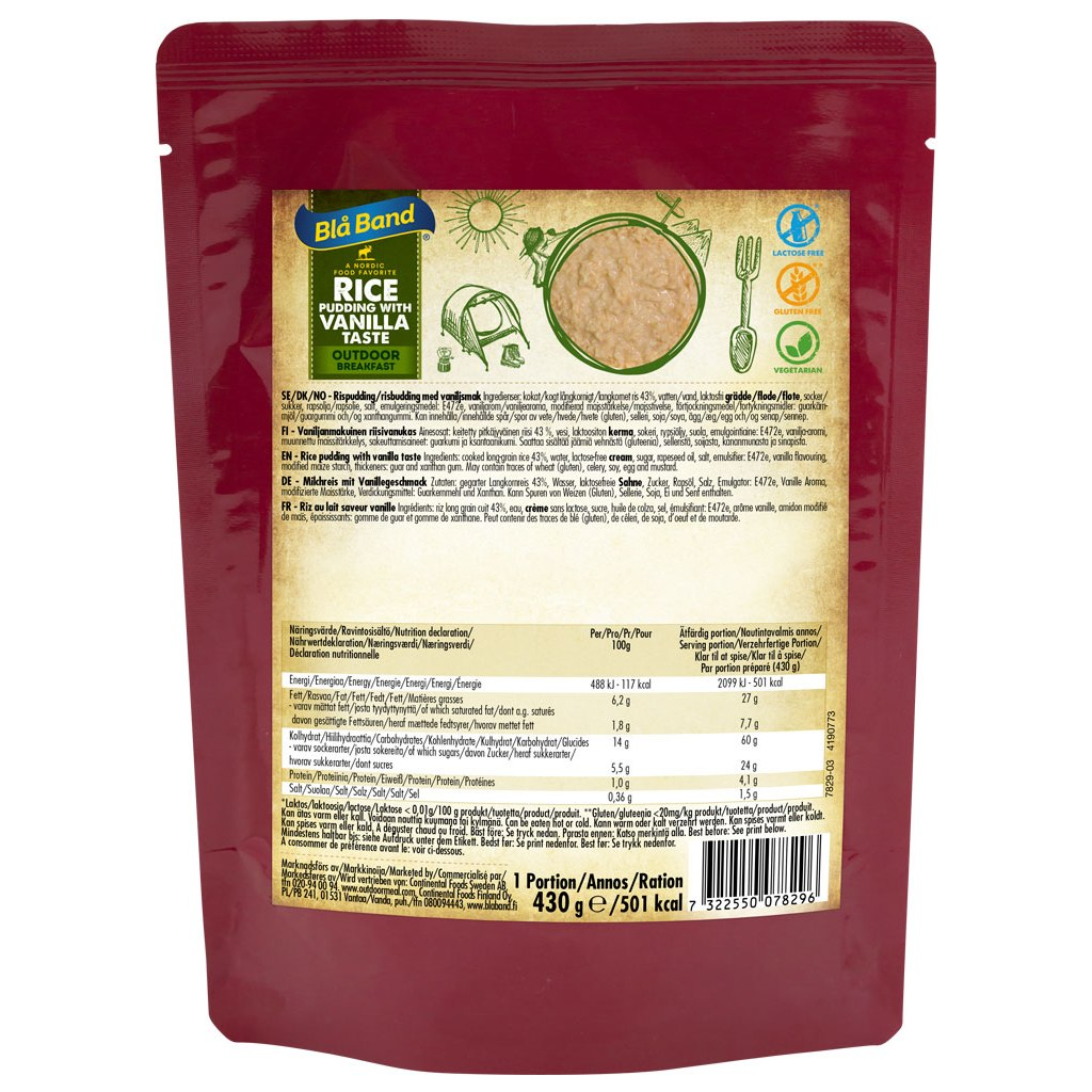 Blå Band Rice Pudding with Vanilla Taste - Outdoor Breakfast - 430g