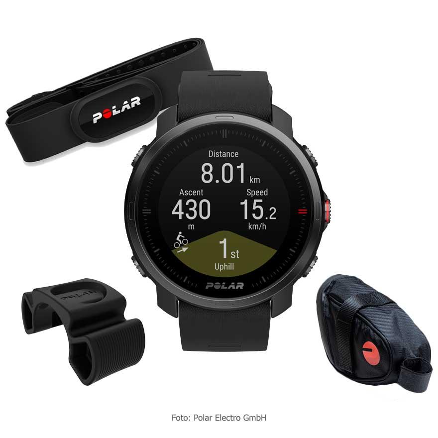 Produktbild von Polar Grit X Radsport-Bundle - GPS Multisport Uhr + H10 Herzfrequenz-Sensor + Radhalterung + Satteltasche - schwarz
