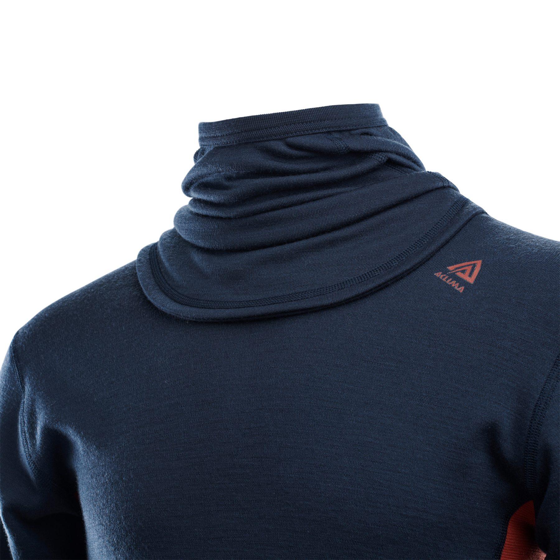 Image of Aclima Warmwool Hood Sweater - navy blazer/red ochre