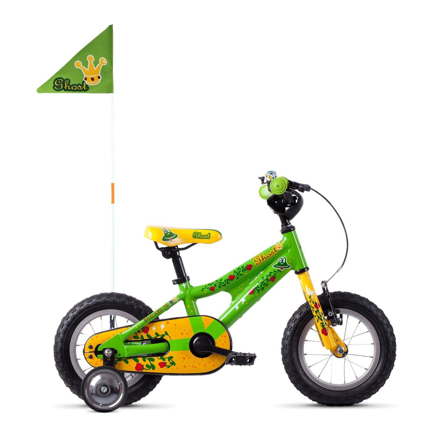 "Ghost POWERKID AL 12 K - 12"" Kids Bike - 2021 - riot green / cane yellow / riot red"