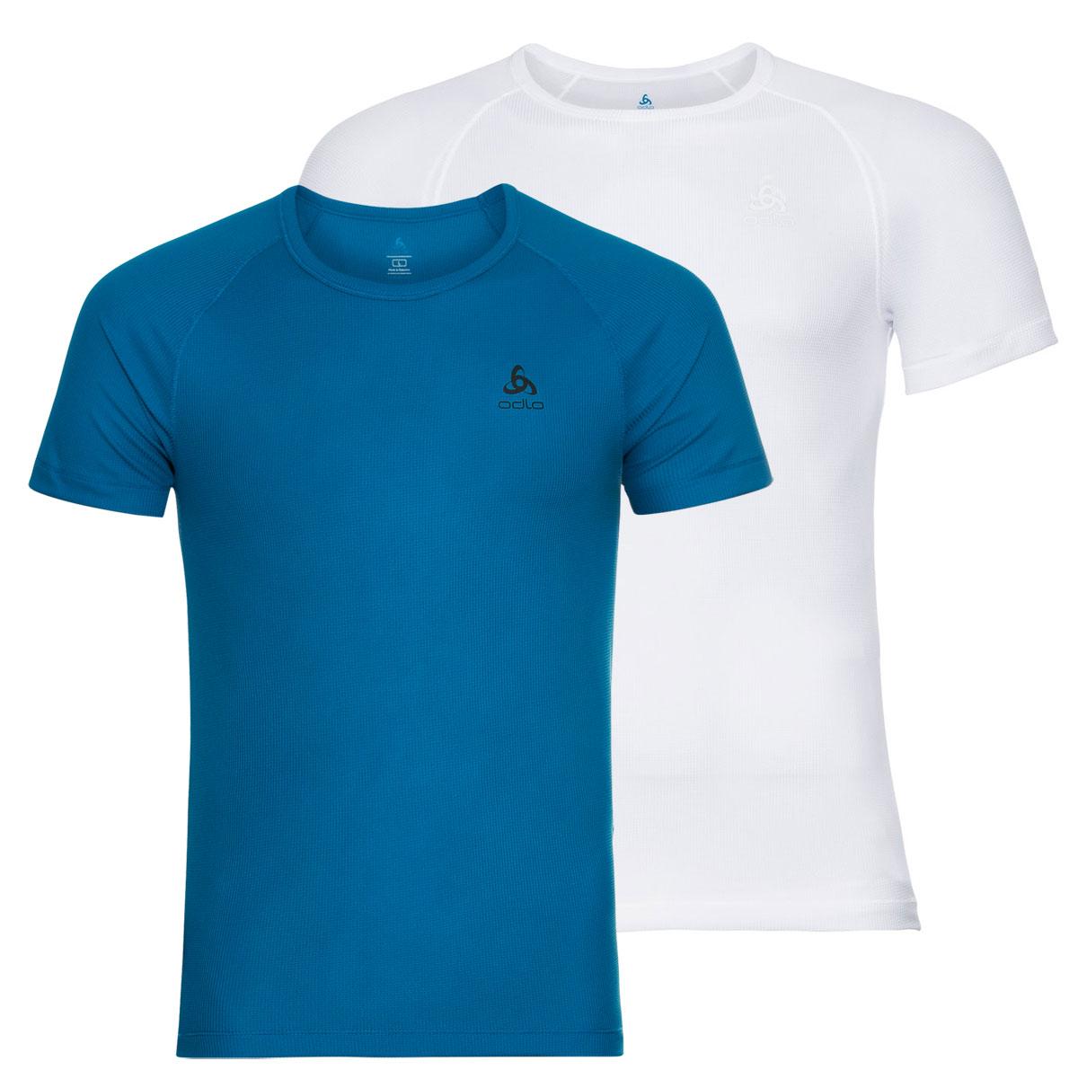 Produktbild von Odlo Herren ACTIVE CUBIC LIGHT T-Shirt Doppelpack 192282 - 10755 white - mykonos blue