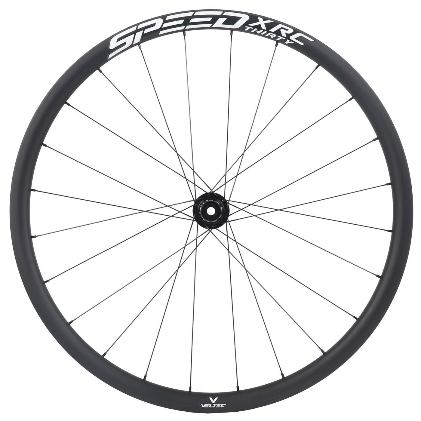 Veltec Speed XCR 30 Disc Carbon Hinterrad - Drahtreifen - 12x142mm - Shimano HG - schwarz mit weißen Decals