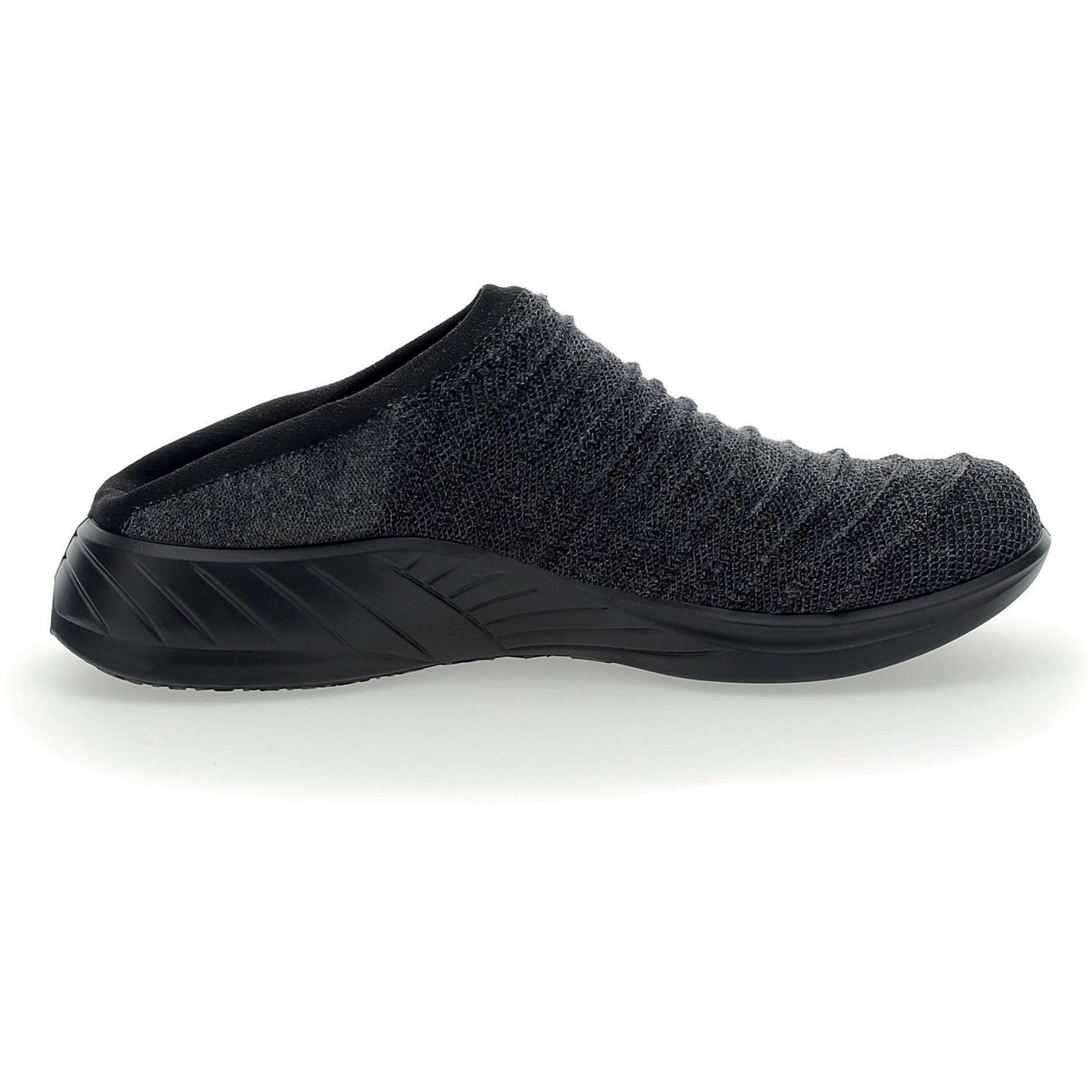 Image of UYN Sabot 3D Ribs Wool Black Sole Slippers - Anthracite Melange/Black