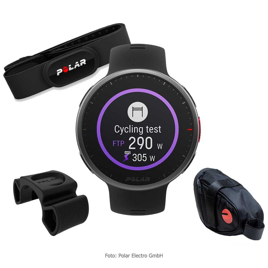 Produktbild von Polar Vantage V2 Radsport Bundle - GPS Multisport Uhr + H10 Herzfrequenz-Sensor + Radhalterung + Satteltasche - schwarz