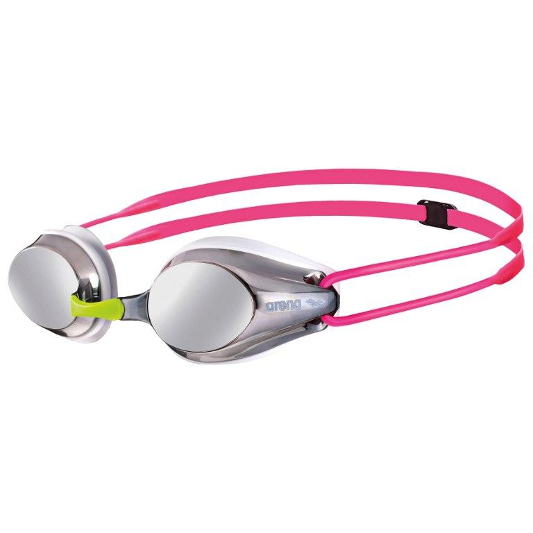 arena Tracks JR Mirror Silver/White/Fuchsia Kids Swimming Goggles