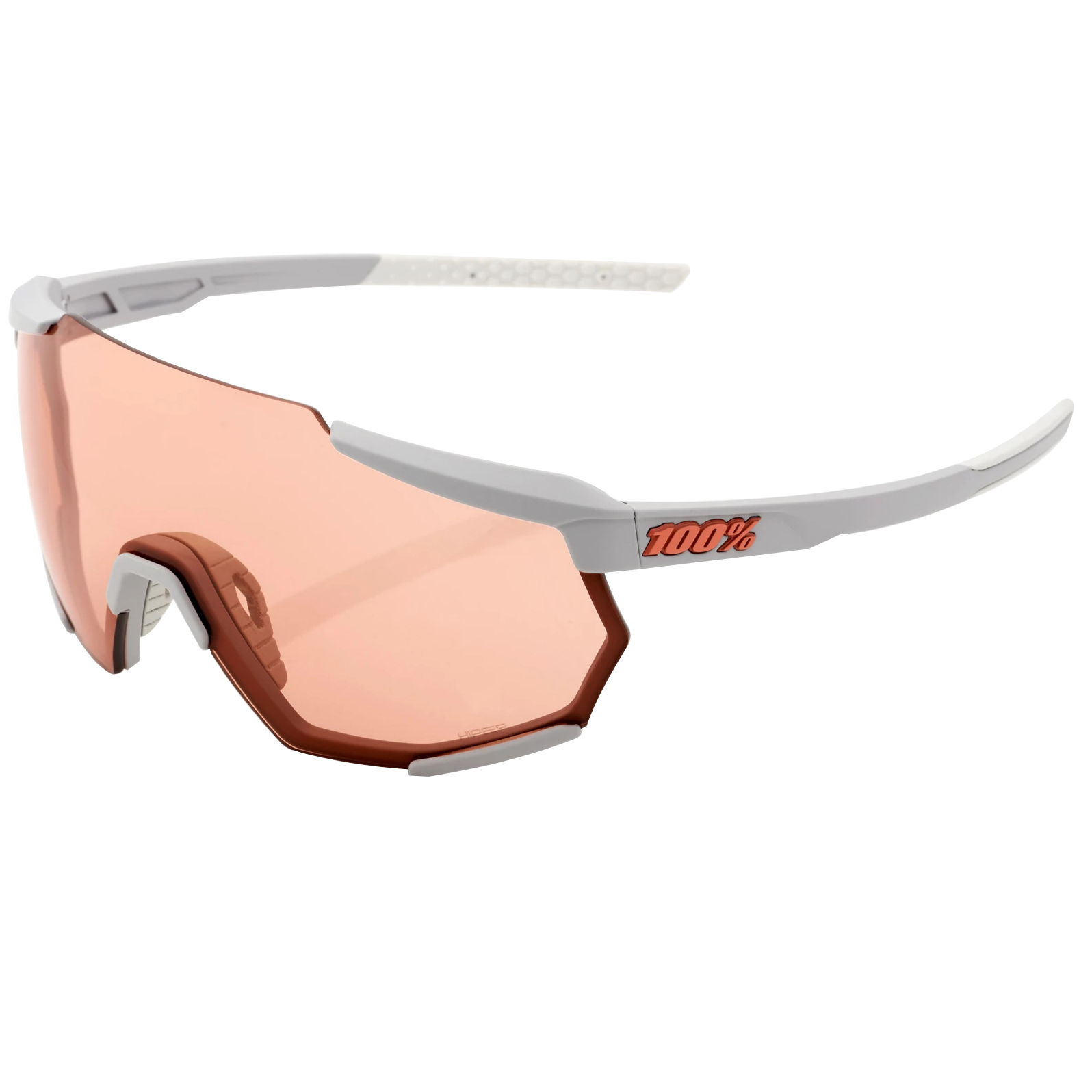 100% Racetrap HiPER Mirror Glasses - Soft Tact Stone Grey/Coral + Clear