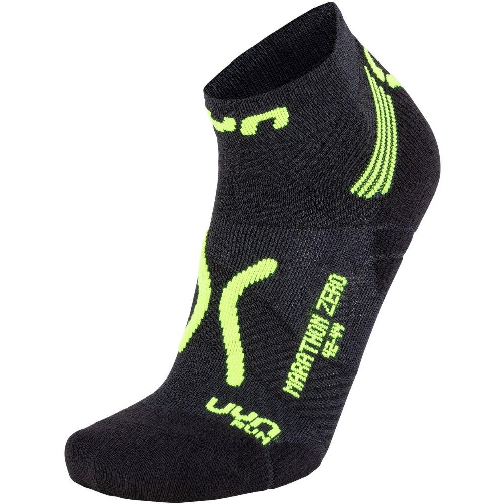 UYN Man Running Marathon Zero Socken - Black/Yellow Fluo