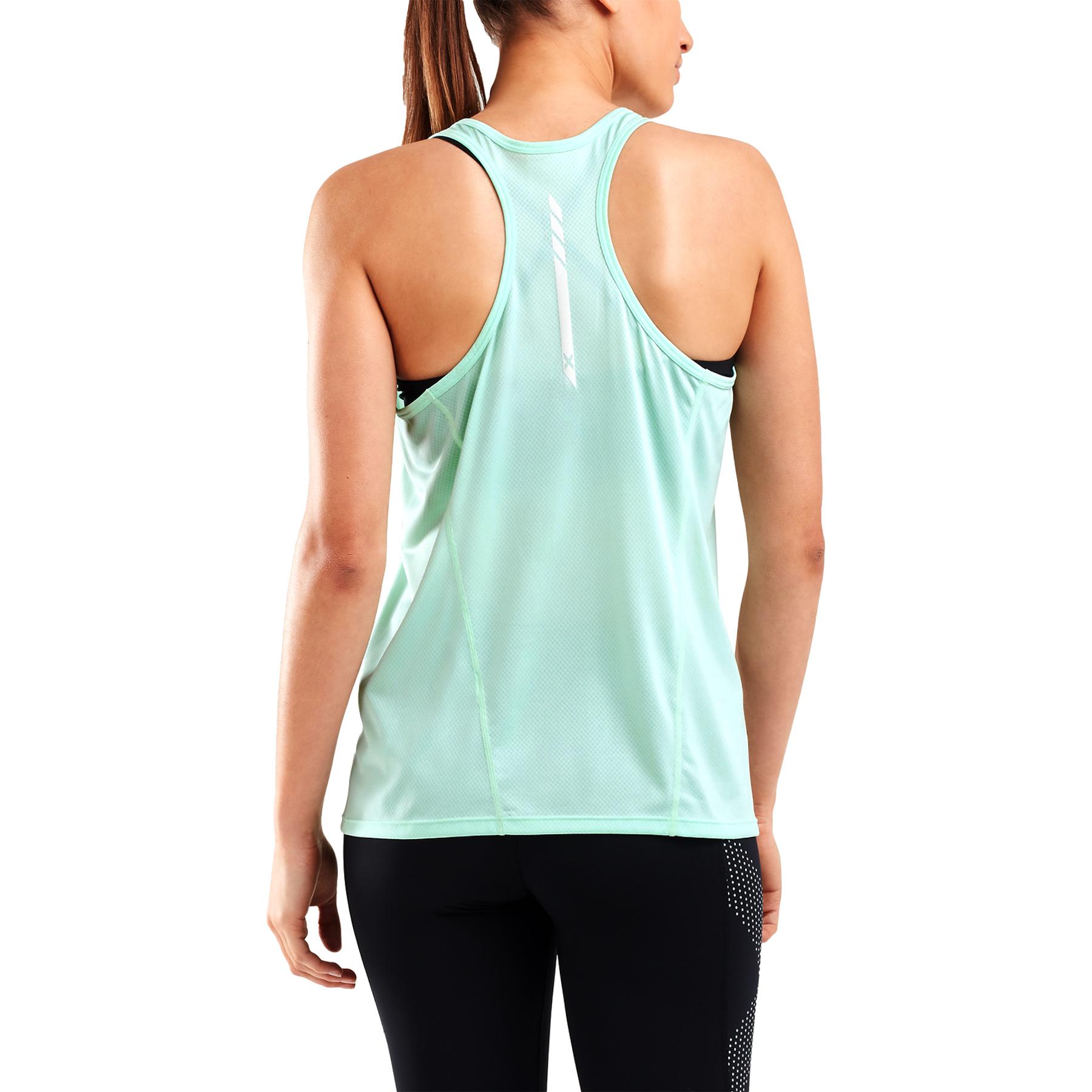 Imagen de 2XU GHST Short Sleeve Women's Singlet - mint/white reflective