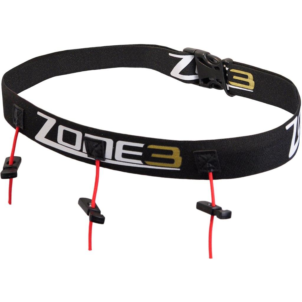 Zone3 Ultimate Startnummernband mit Gel Halterung - schwarz/weiß/gold