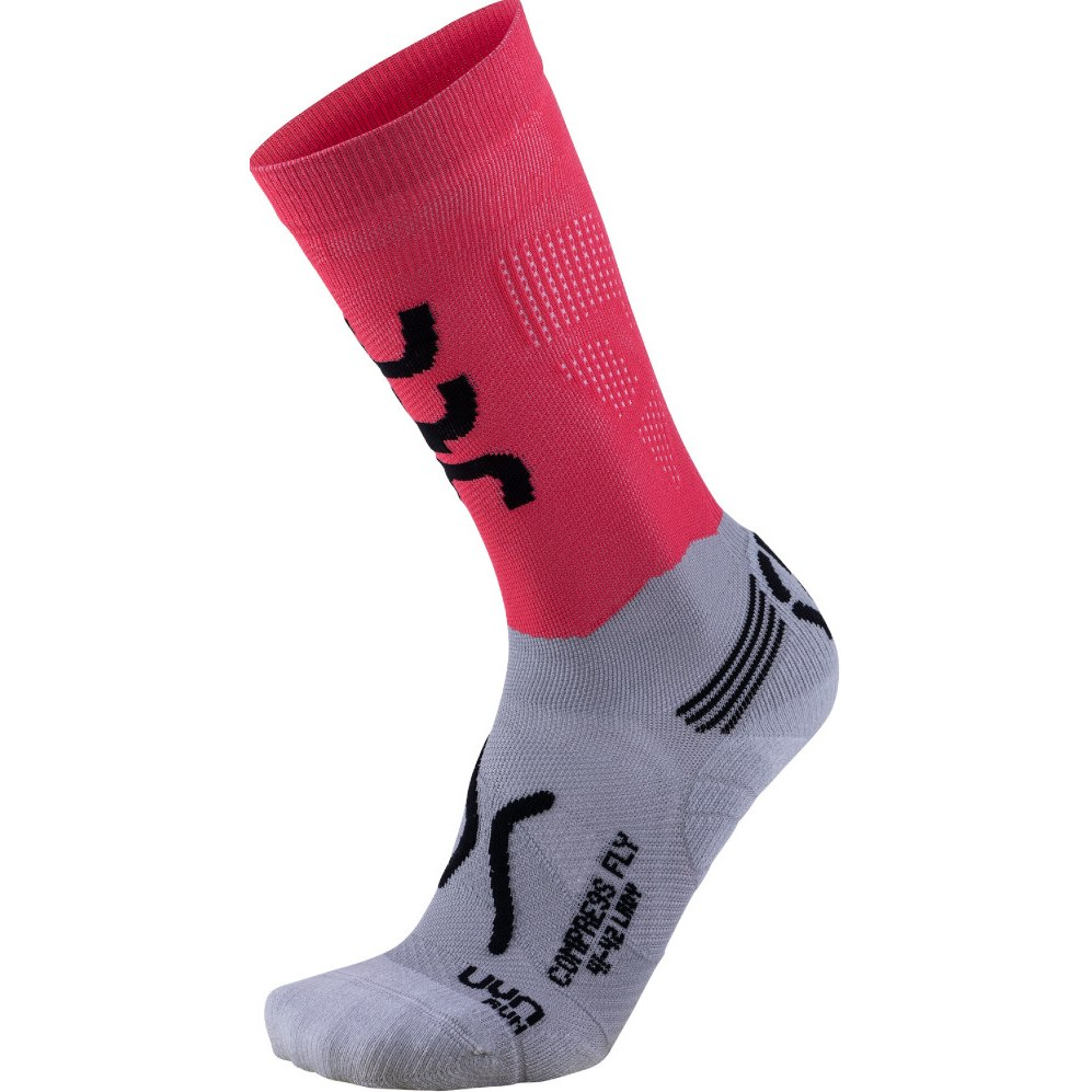 UYN Lady Running Compression Fly Damensocken - Anthracite/Coral Fluo