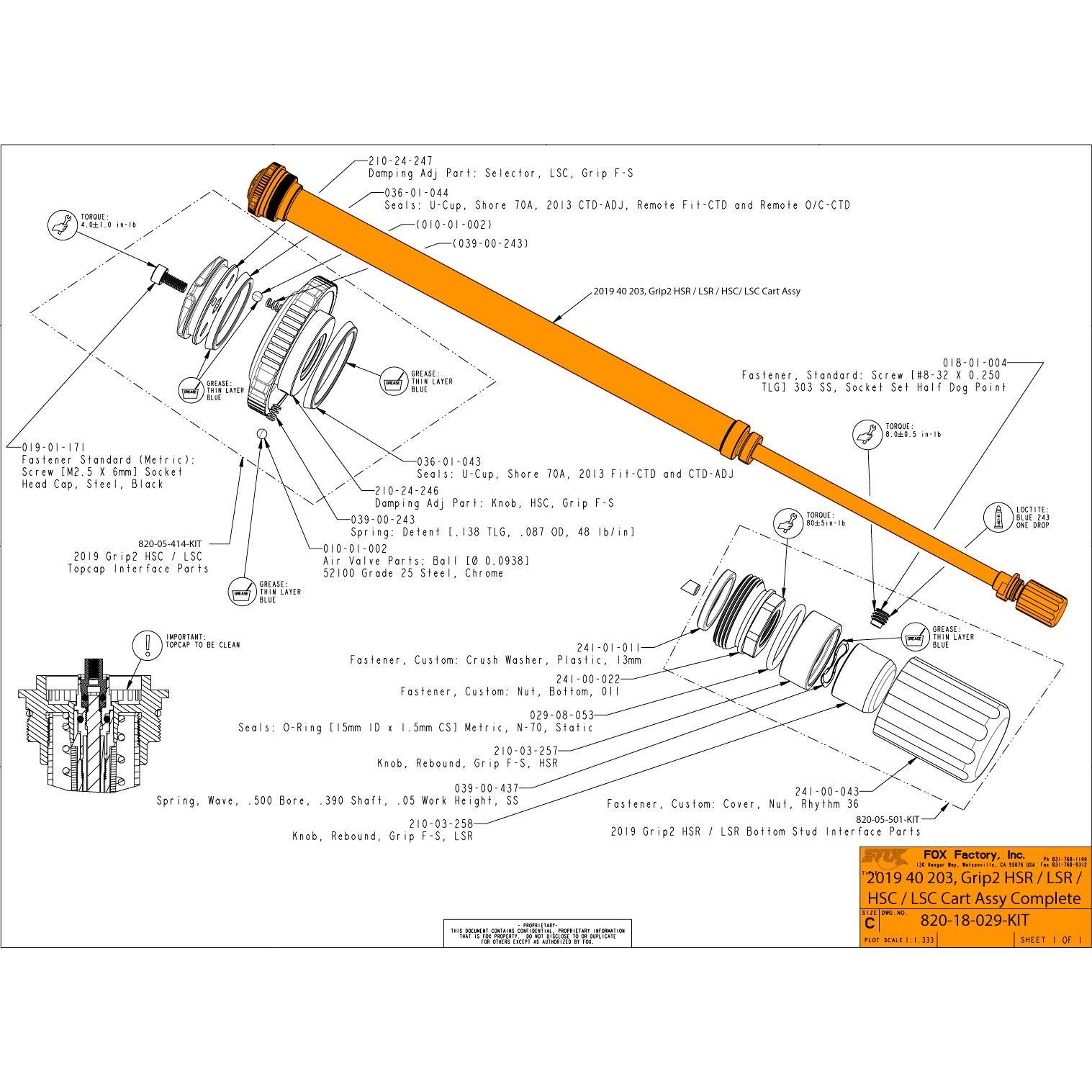 FOX GRIP2 HSR / LSR / HSC / LSC Cartridge for 40 Forks - MY 2019 - 820-18-029-KIT