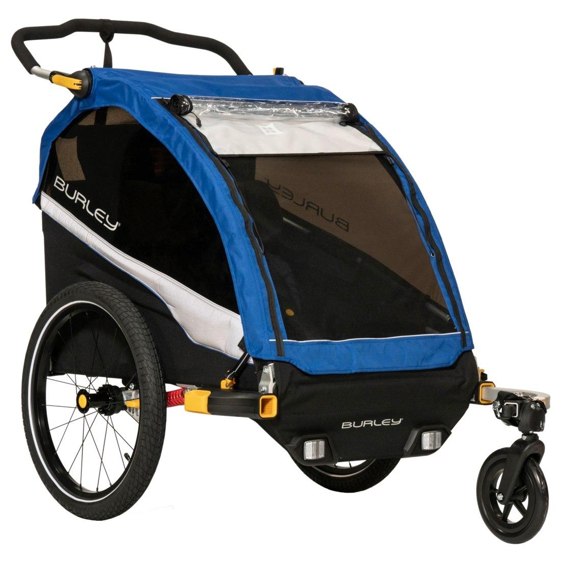 Burley D' Lite Bike Trailer for 1-2 Kids incl. Cover - old school blue