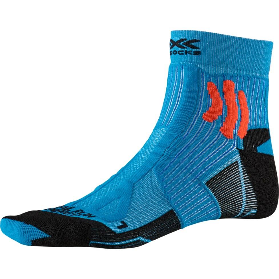 Bild von X-Socks Trail Run Energy Laufsocken - teal blue/sunset orange