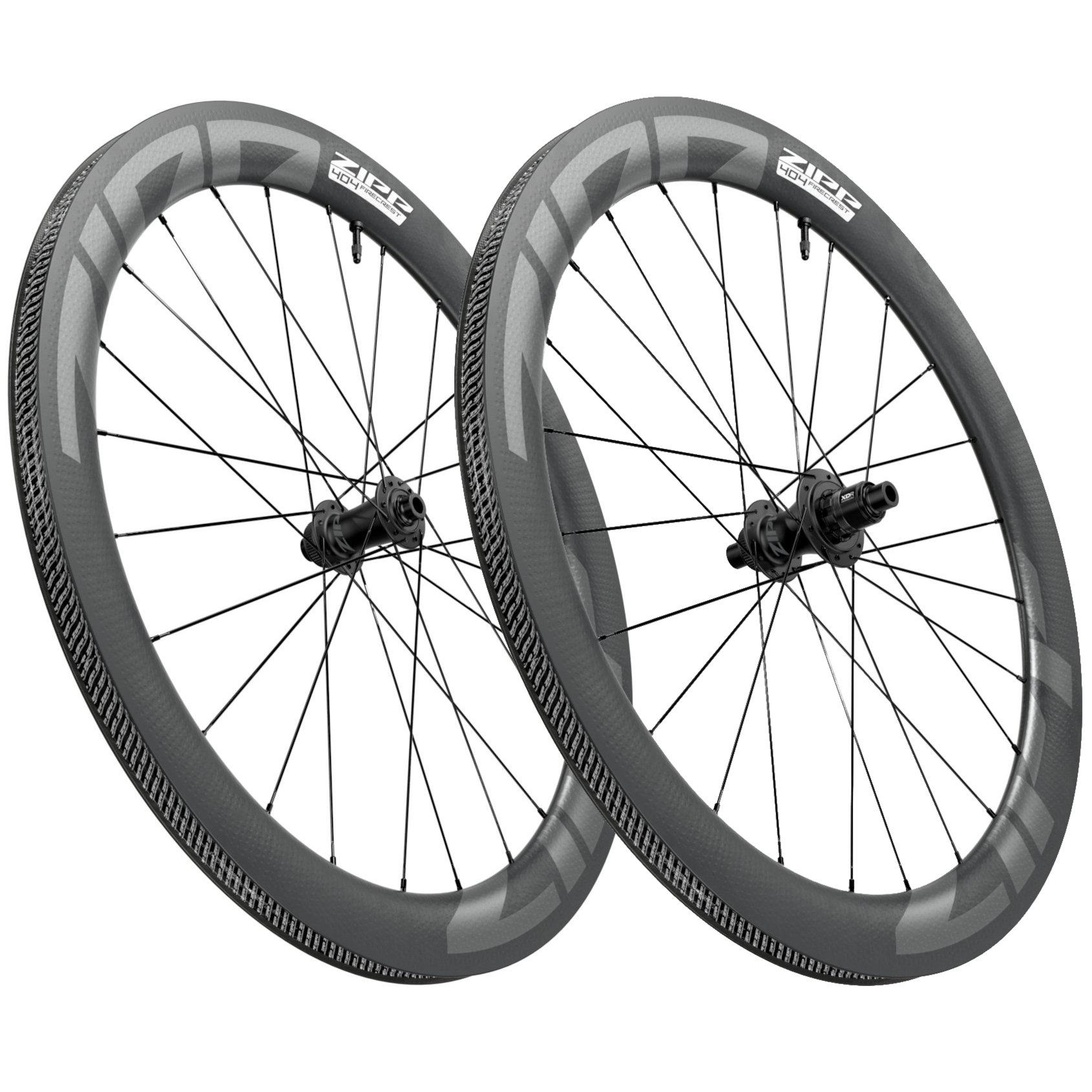 ZIPP 404 Firecrest Carbon Laufradsatz - Tubeless - Centerlock - VR: 12x100mm   HR: 12x142mm - schwarz