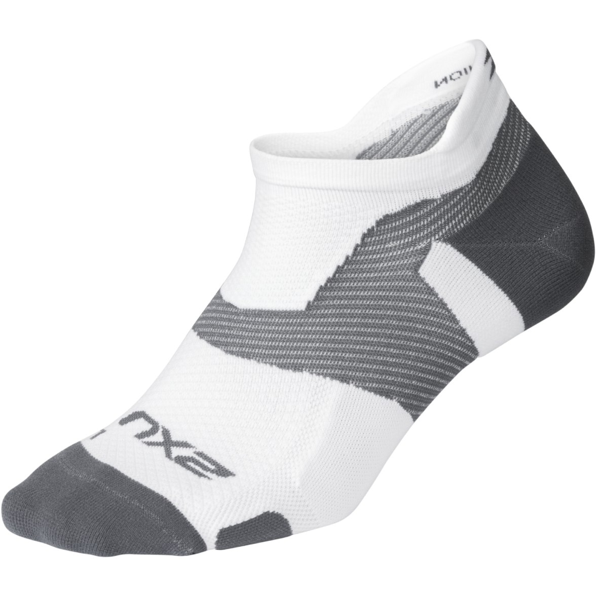 2XU Vectr Light Cushion No Show Socks - white/grey