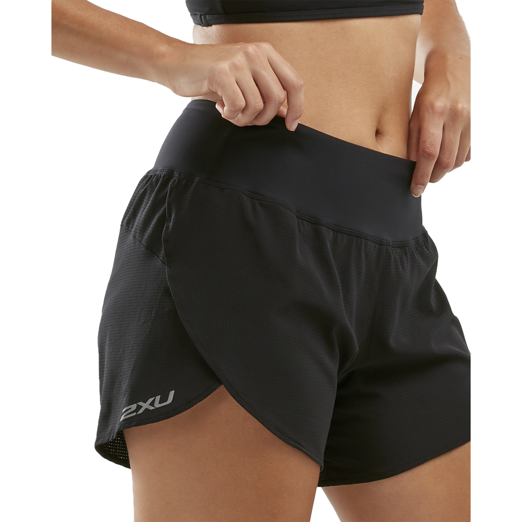 "Imagen de 2XU XVENT 4"" Women's Shorts with Brief - black/silver reflective"