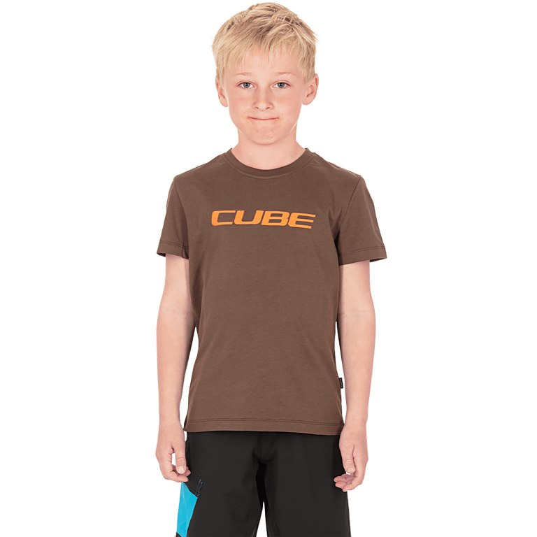 Image of CUBE JUNIOR Organic T-Shirt Classic Logo - brown
