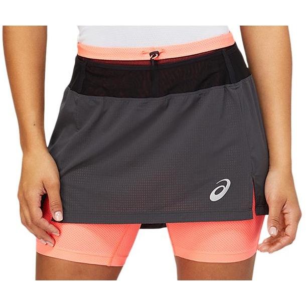 Produktbild von asics Fujitrail Damen Lauf-Skort - graphite grey/blazing coral