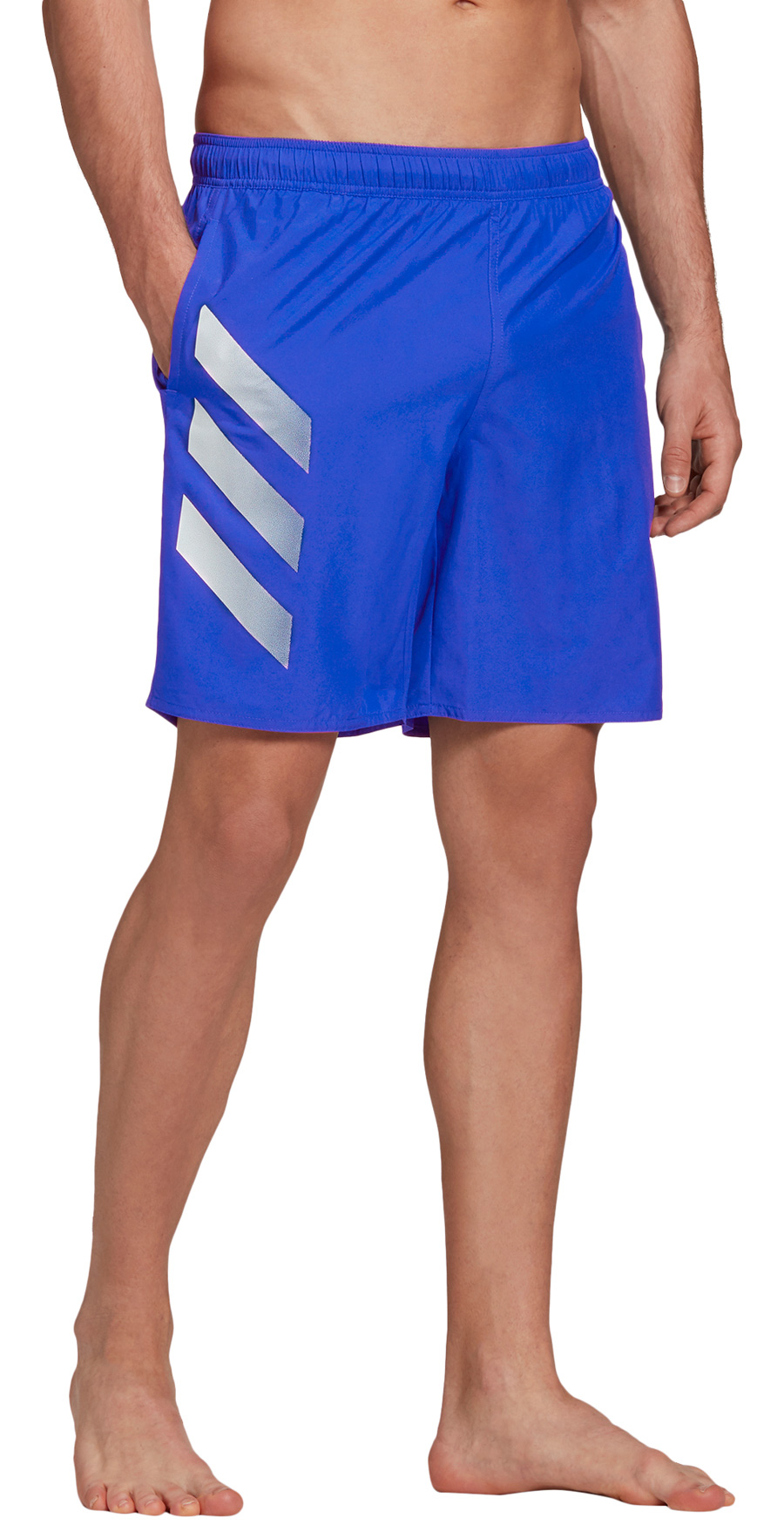 Image of adidas Men's Bold 3-Stripes CLX Swim Shorts - royal blue