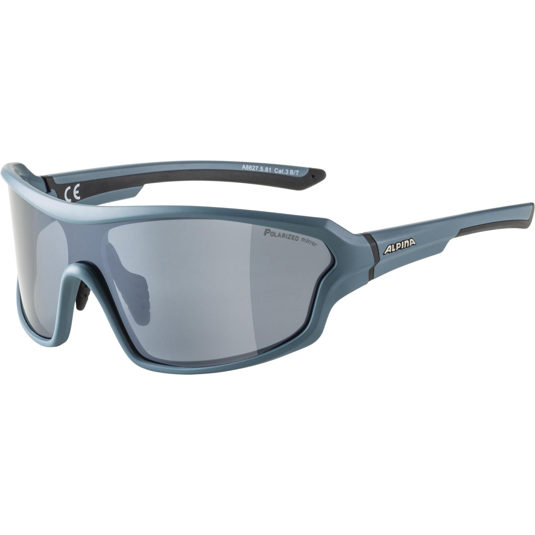 Alpina Lyron Shield P Glasses - dirtblue matt / Polarized black mirror