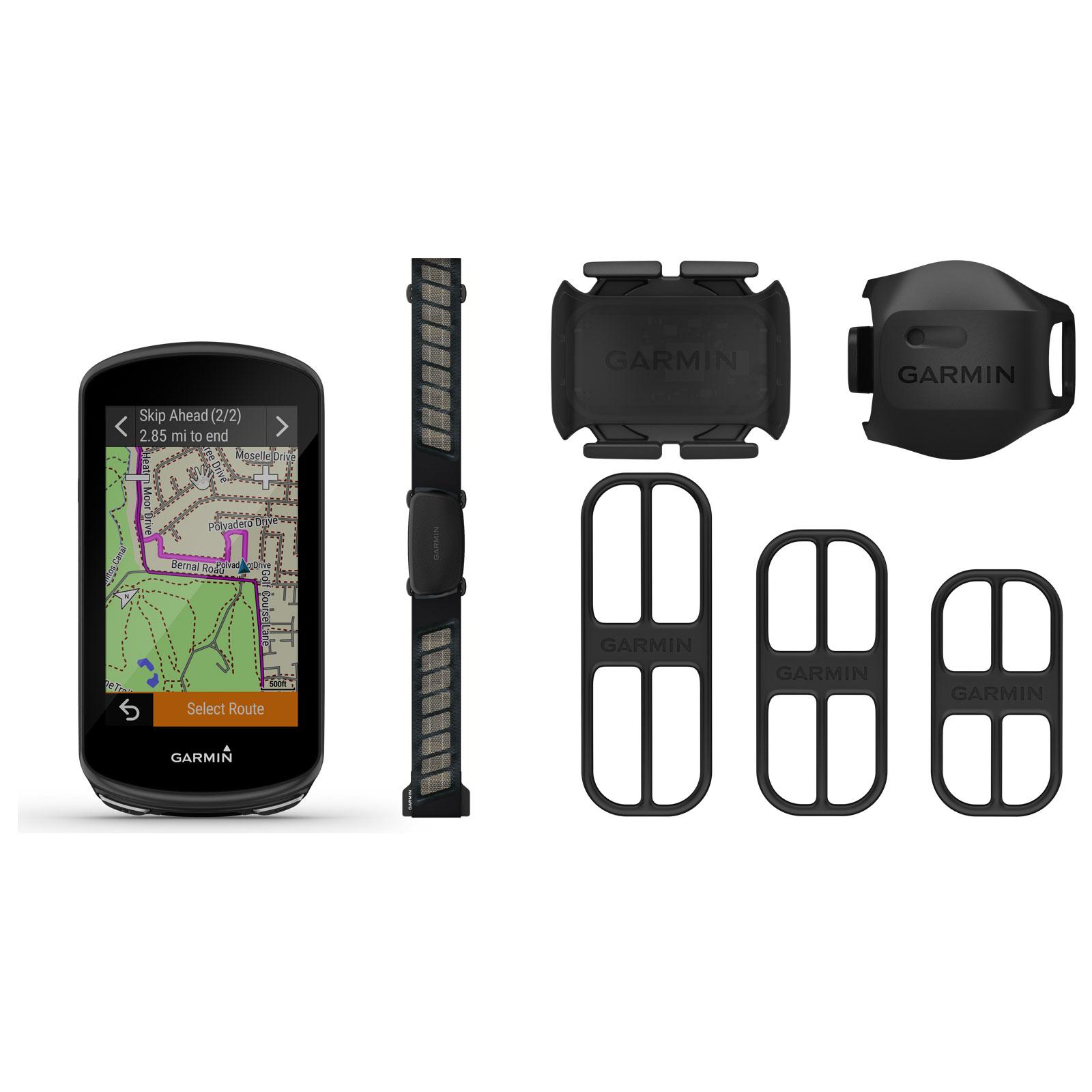 Garmin Edge 1030 Plus Bundle GPS Cycling Computer + Heart Rate Monitor, Cadence / Speed Sensor