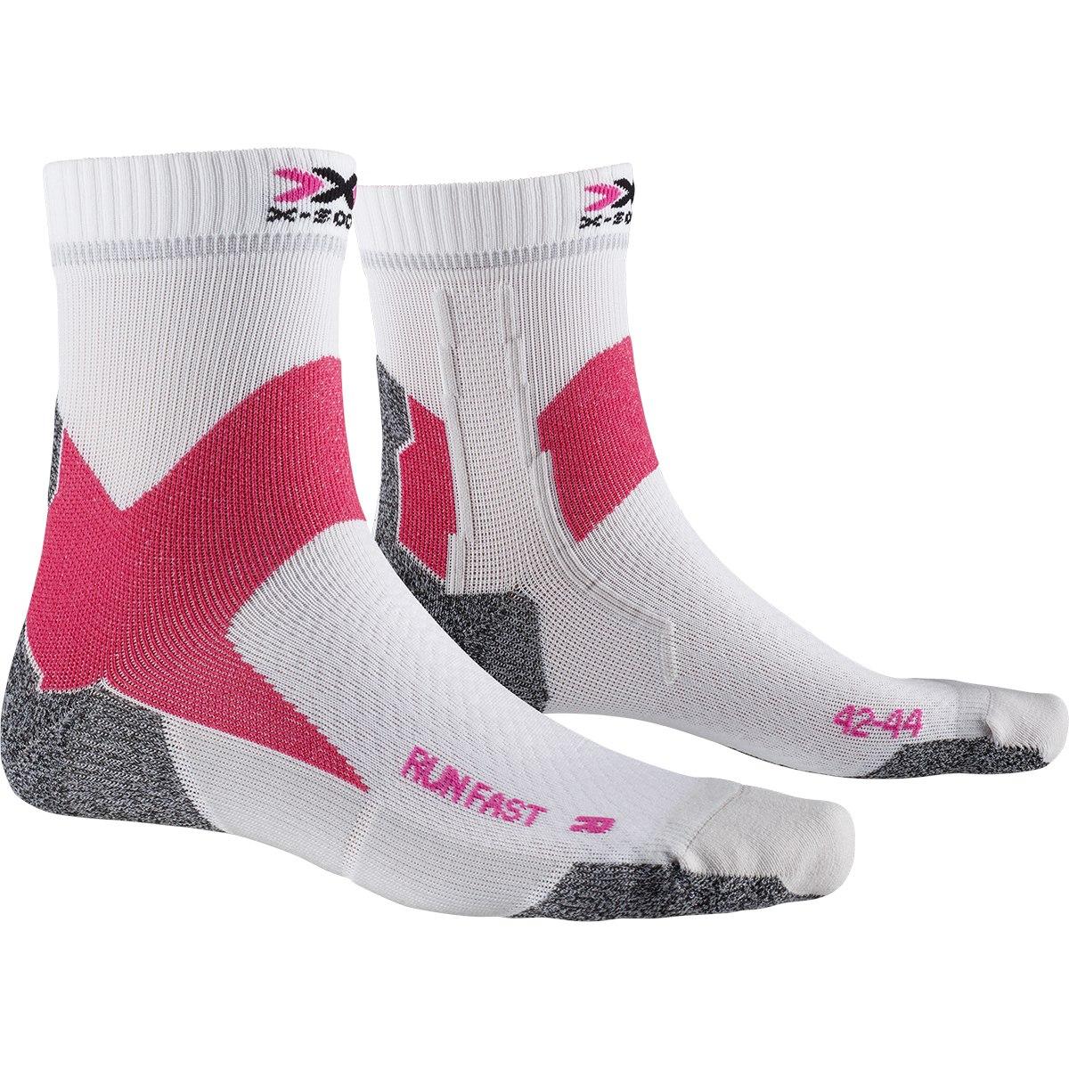 X-Socks Run Fast Laufsocken - arctic white/flamingo pink
