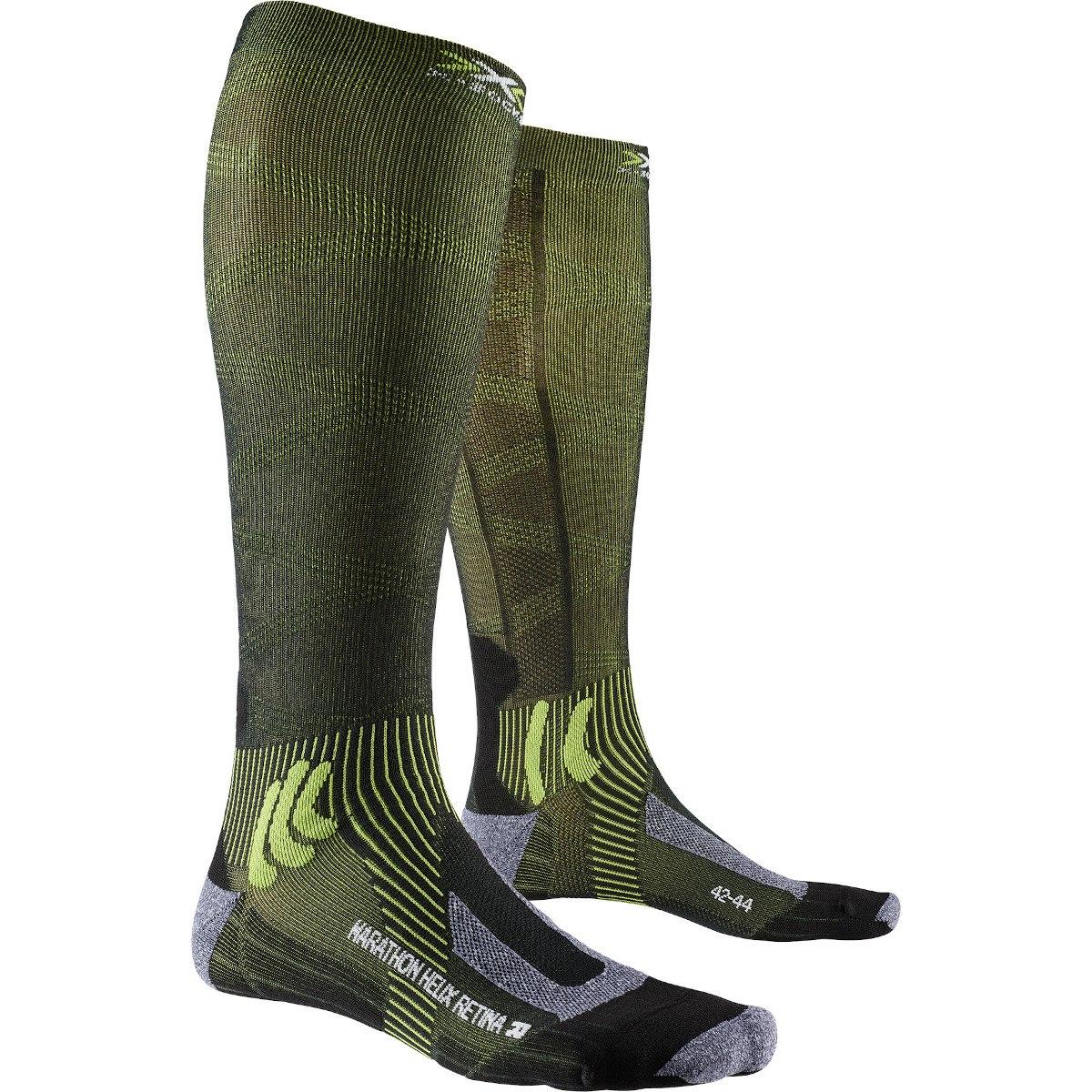 Bild von X-Socks Marathon Helix Retina 4.0 Laufsocken - black melange/effektor green