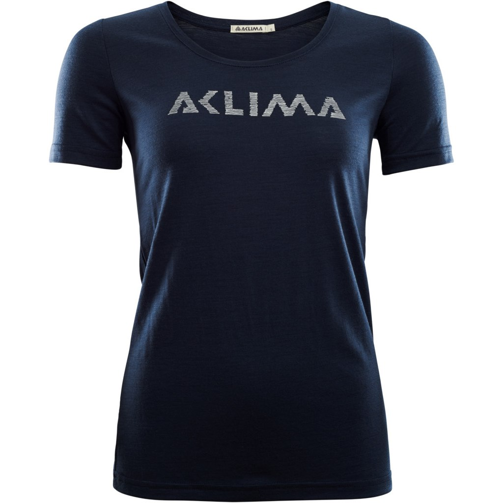 Aclima Lightwool T-Shirt Logo Woman - navy blazer