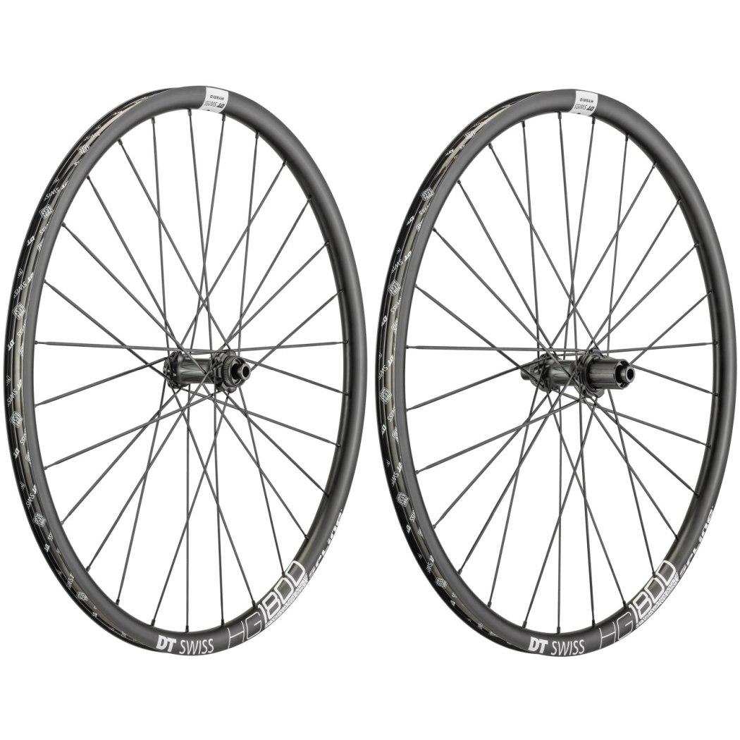 "DT Swiss HG 1800 Spline Black db 25 - 29"" / 700C Wheelset - Clincher - Centerlock / 6 Bolt - FW: 12x100mm | RW: 12x142mm"