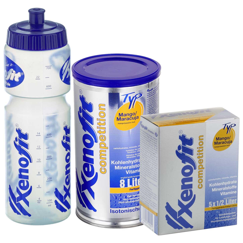 Xenofit Competition Mango/Maracuja - Isotonisches Kohlenhydrat-Getränk - Vorteilspack + Trinkflasche