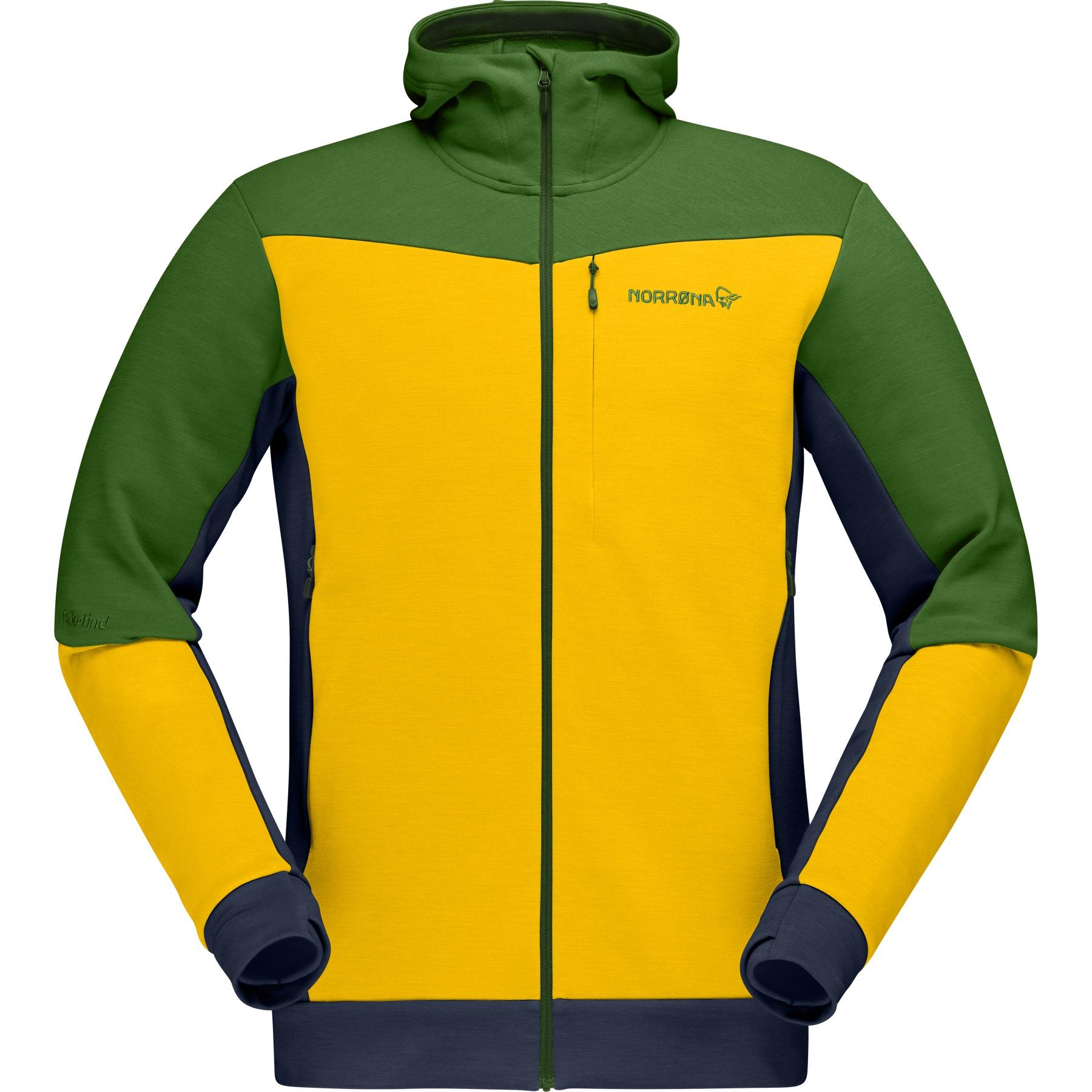 Produktbild von Norrona falketind warmwool2 stretch Zip Hood Herren Midlayerjacke - Lemon Chrome/Treetop